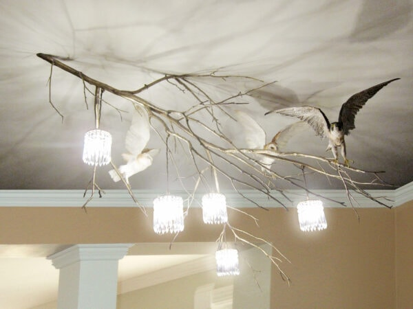 Privatly Commissioned Bronze Cast branch chandelier taxidermy birds