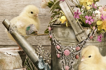 Town and Country Magazine Easter Chick Jewelry Shoot