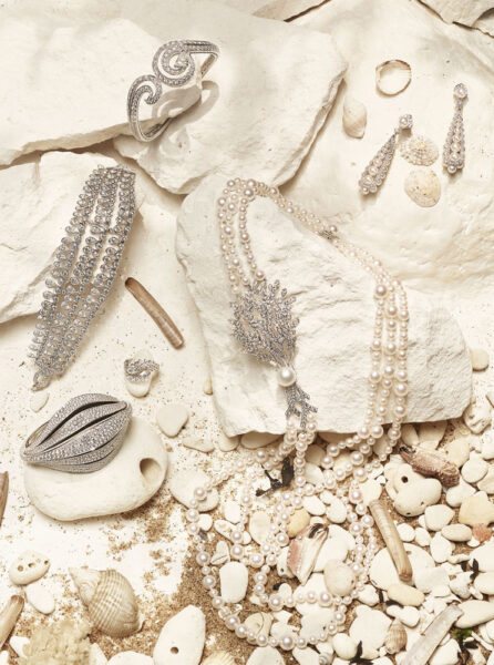 Town and Country Magazine British Holiday Jewelry shoot White Cliffs of Dover
