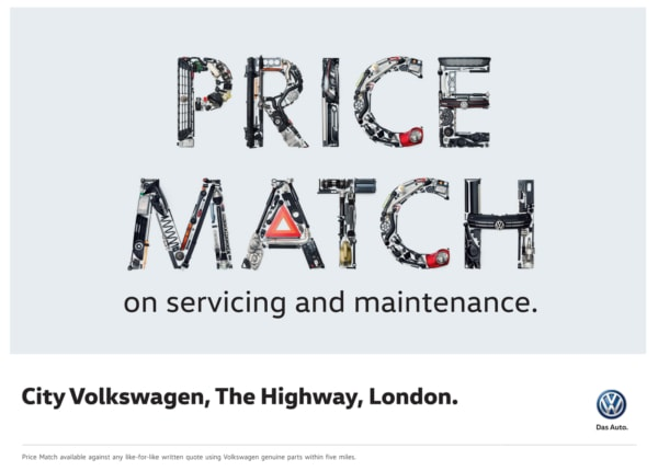 Volkswagen Price Match Letters from car parts Campaign