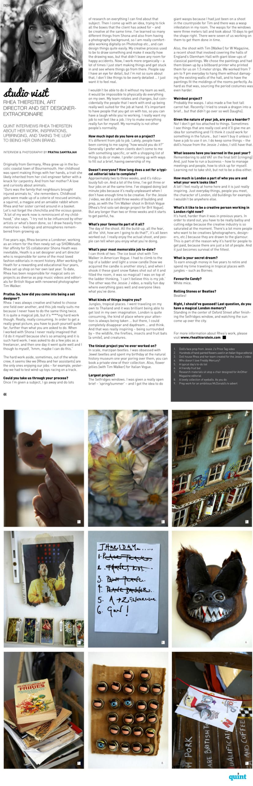 Quint Magazine Interview
